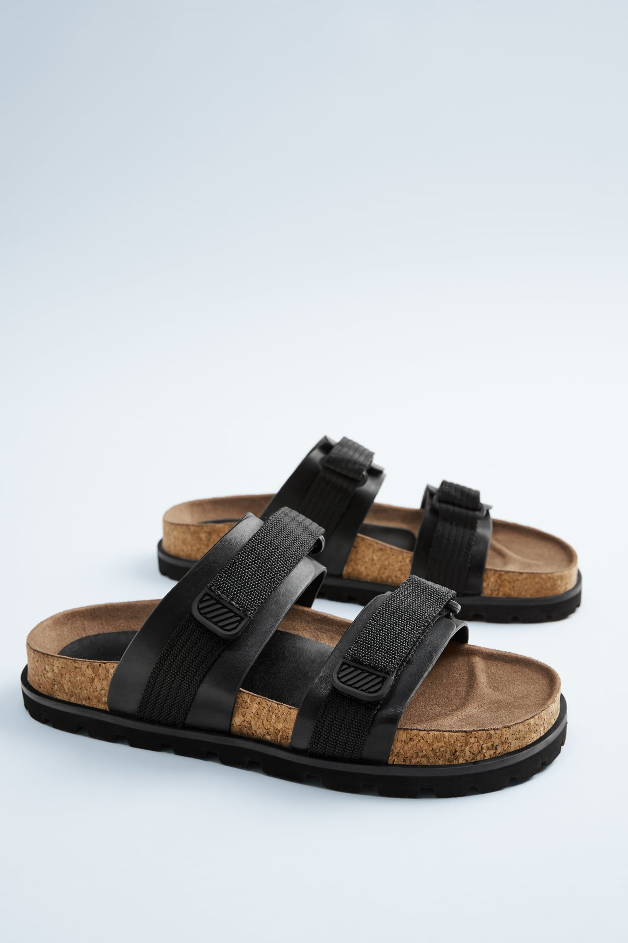 BLACK DOUBLE ROPE SANDALS