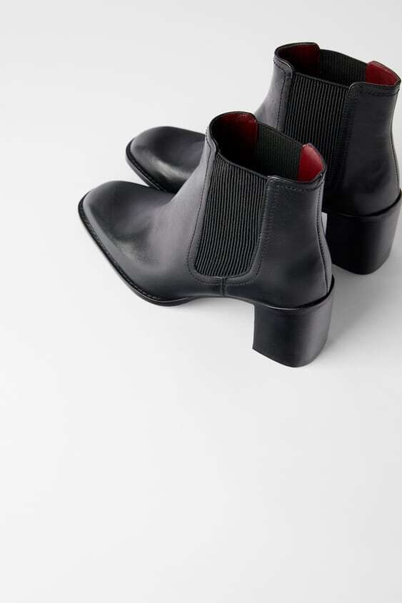 BLACK LEATHER STRETCH HEELED ANKLE BOOTS