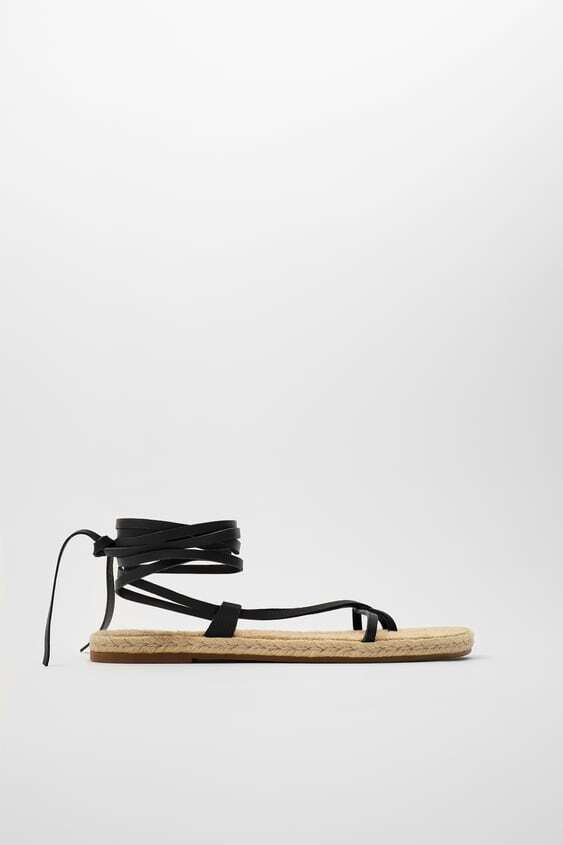 BLACK TIED FLAT LEATHER SANDALS WITH JUTE