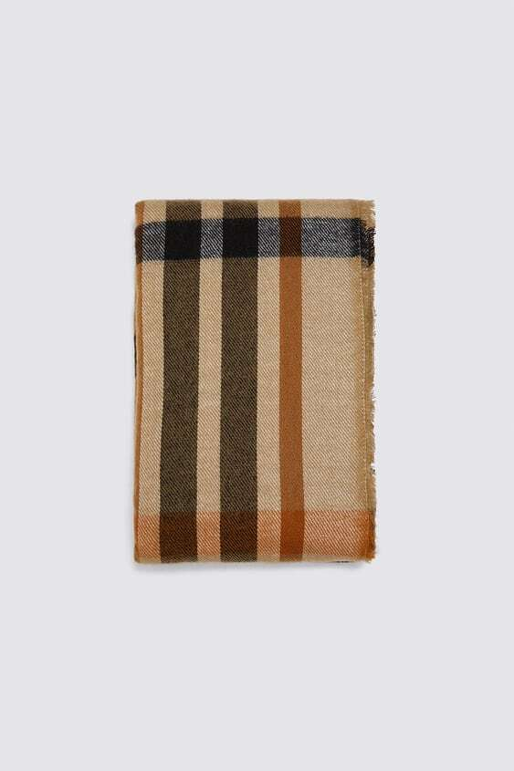 BROWN CHECKED SOFT TOUCH SCARF
