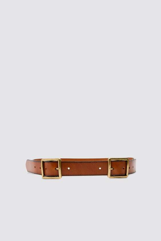 BROWN LEATHER BELT WITH DOUBLE BUCKLE