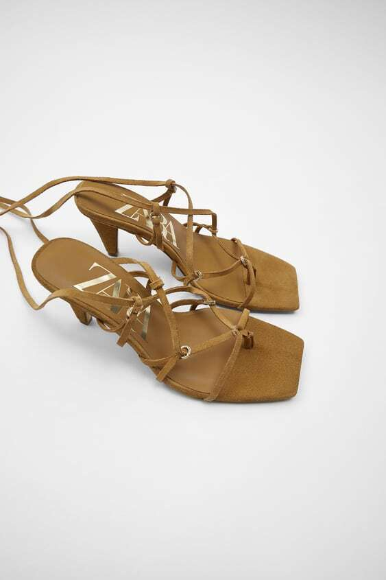 BROWN TIED LEATHER HEELED SANDALS