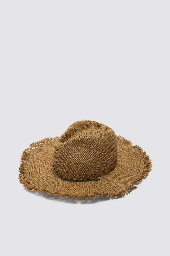 BROWN WOVEN HAT WITH STRAP