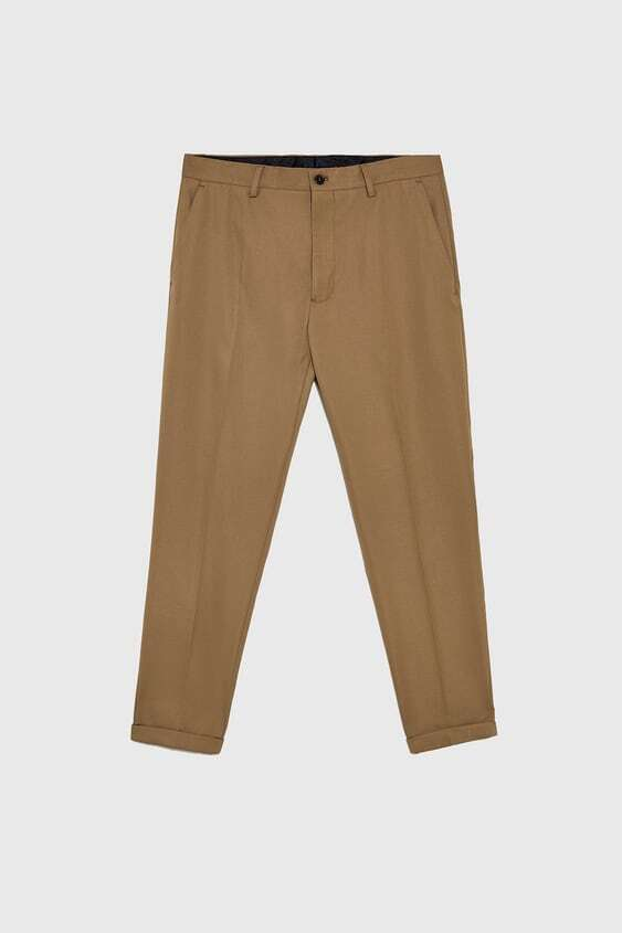 CAMEL TEXTURED SUIT TROUSERS