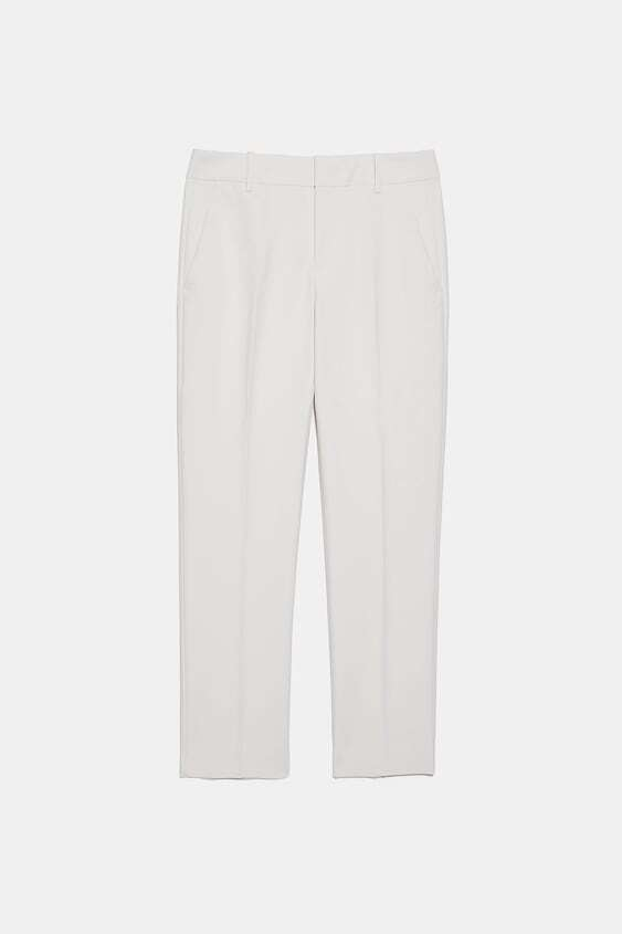 CREAM DOUBLE LAYER CHINO TROUSERS