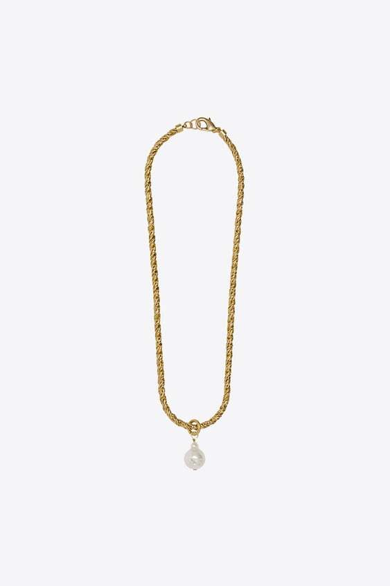GOLDEN NATURAL PEARL CORD NECKLACEjpg