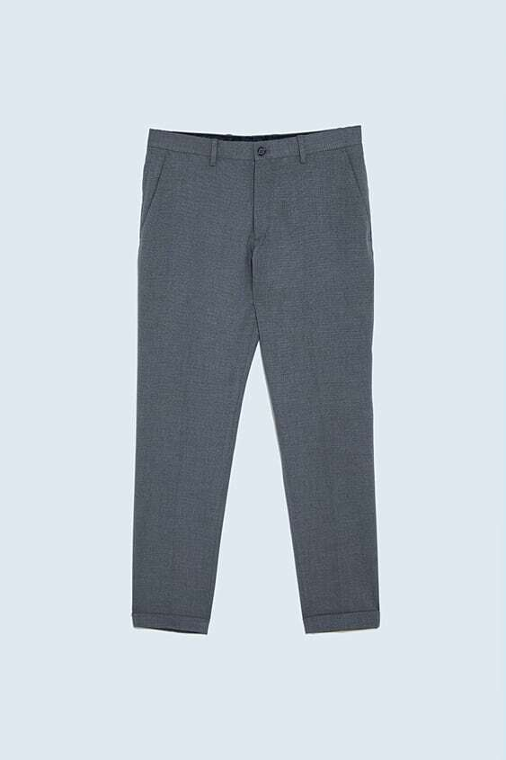 GREY TEXTURED SUIT TROUSERS