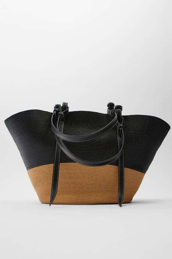 MULTICOLOURED CONTRAST BRAIDED BASKET BAG