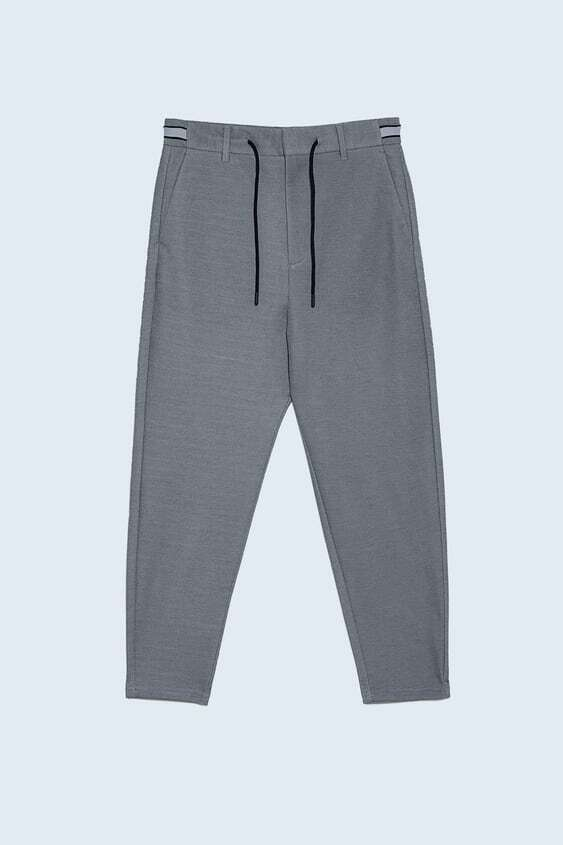 NAVY BLUE JOGGER WAIST TROUSERS WITH TAPING