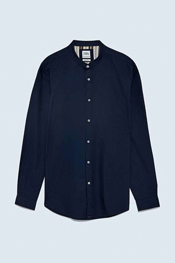 NAVY BLUE RELAXED FIT OXFORD T SHIRT 2