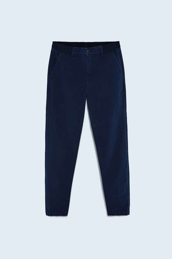 NAVY BLUE SLIM COMFORT FIT CHINO TROUSERS