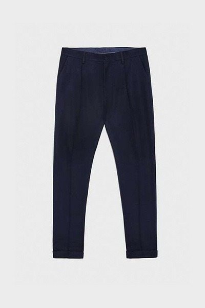 NAVY BLUE TEXTURED TROUSERS WITH PLEATS1