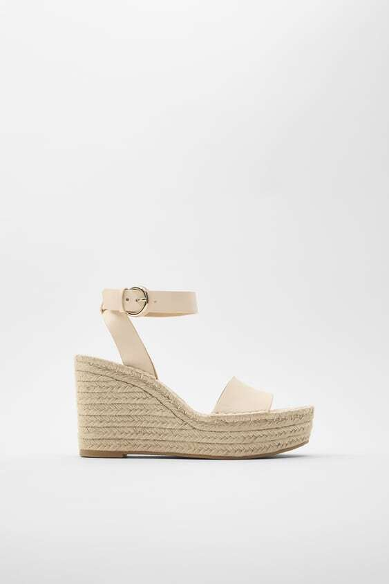 SAND LEATHER AND JUTE WEDGES