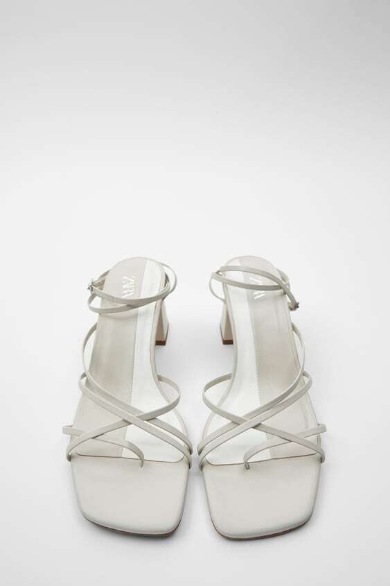 WHITE STRAPPY LEATHER HEELED SANDALS