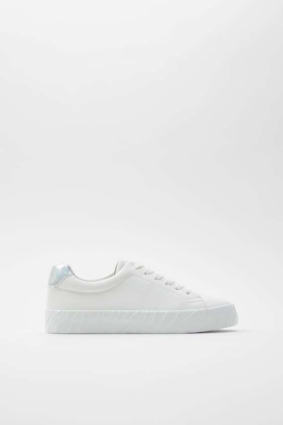 WHITE VULCANISED SOLE SNEAKERS WITH METALLIC DETAIL