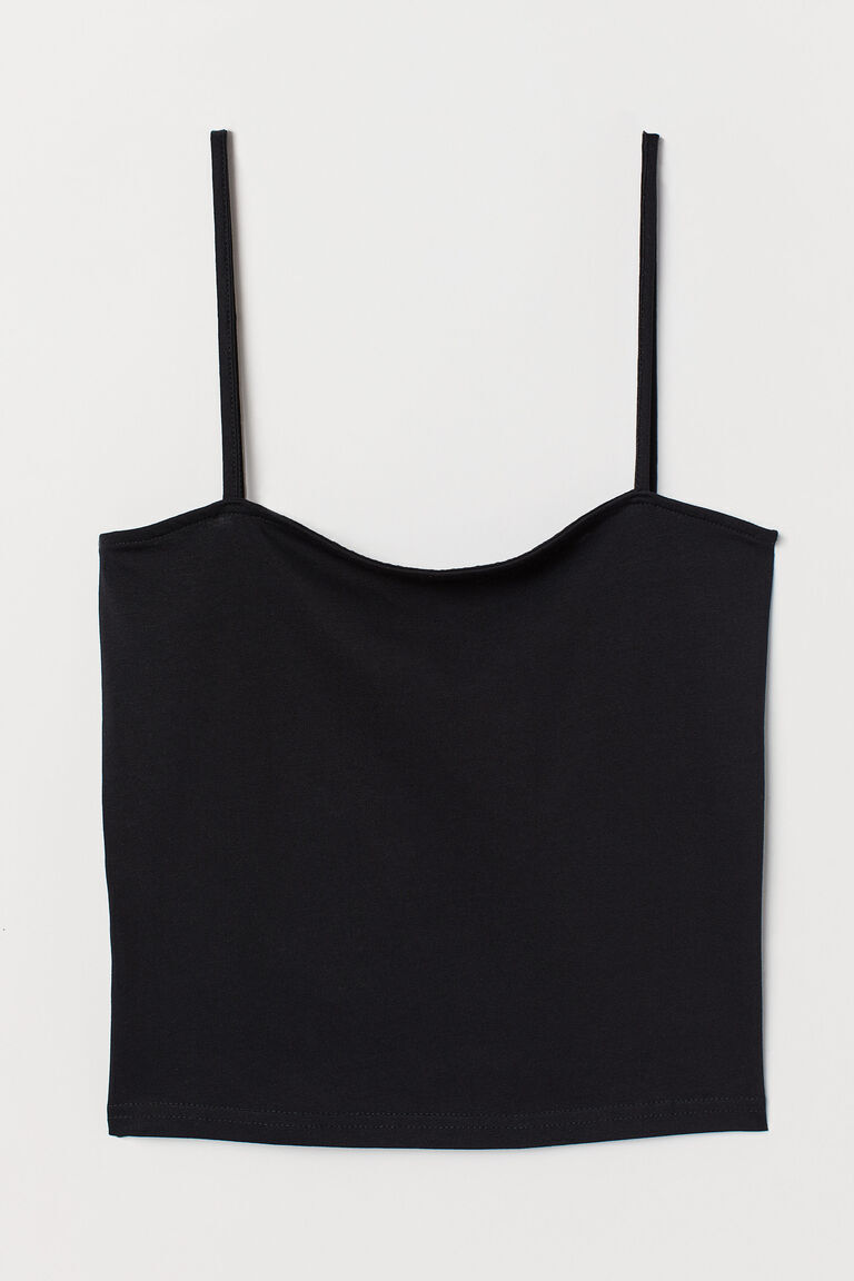 BLACK CROPPED JERSEY STRAPPY TOP