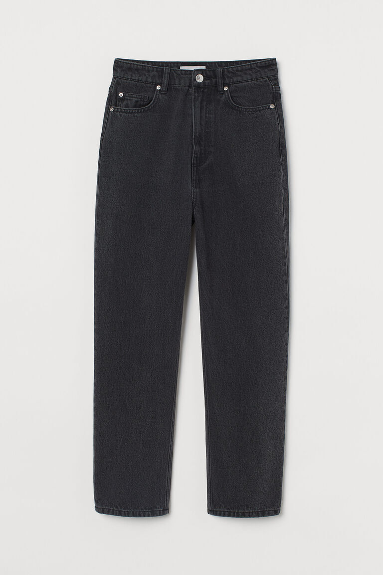 BLACK STRAIGHT ANKLE JEANS
