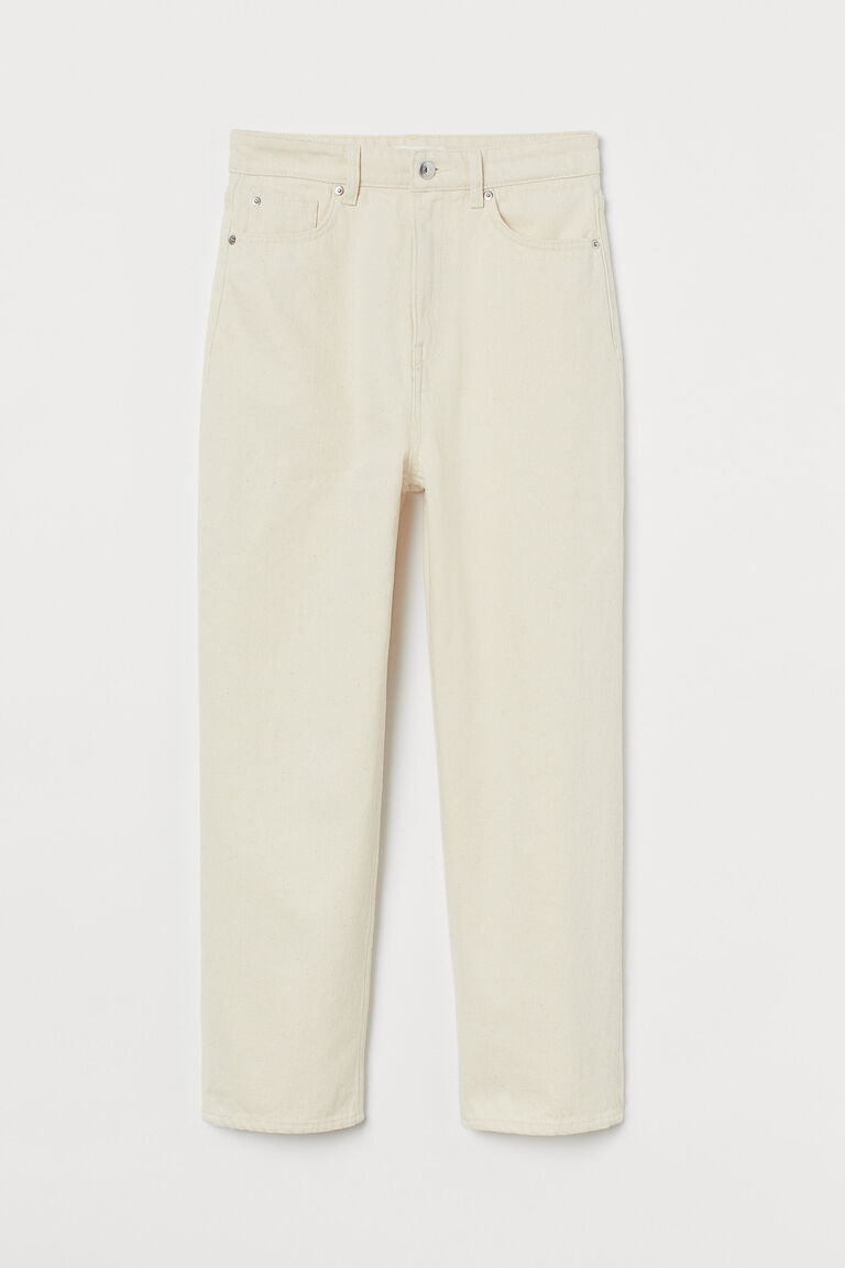 CREAM STRAIGHT ANKLE JEANS