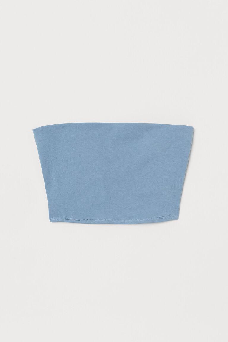 LIGHT BLUE JERSEY TUBE TOP