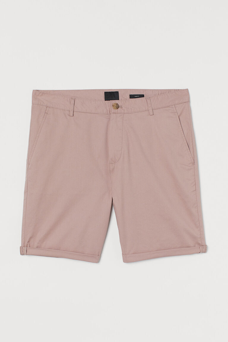 Pale pink chino shorts slim fit