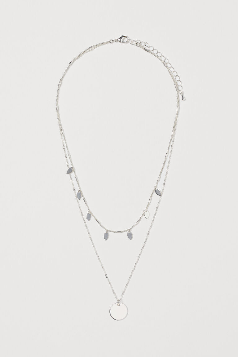 SILVER COLOURED TWO STRAND NECKLACE