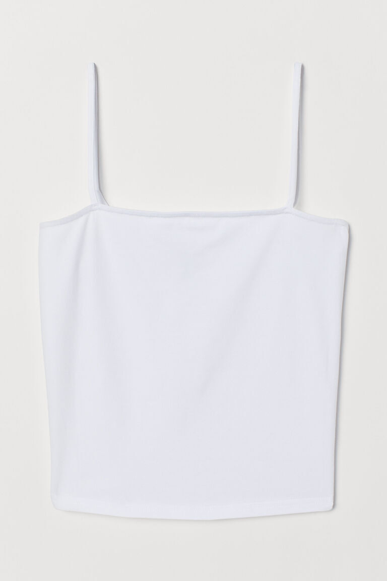 WHITE CROPPED JERSEY STRAPPY TOP