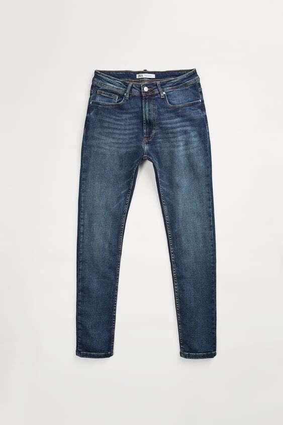 mid blue jeans skinny basic